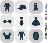 garment icons set with pajamas  ... | Shutterstock . vector #1081188062