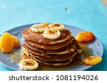 pile of homemade pancakes with...   Shutterstock . vector #1081194026