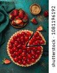 delicious strawberry tart on... | Shutterstock . vector #1081196192