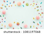 Colorful candies on pastel...