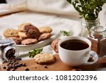 coffee cup  jar with coffee...   Shutterstock . vector #1081202396