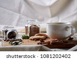 coffee cup  jar with coffee...   Shutterstock . vector #1081202402