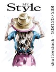 hand drawn stylish woman in hat.... | Shutterstock .eps vector #1081207538