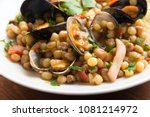 fregula with seafood  typical...   Shutterstock . vector #1081214972