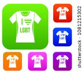 t shirt i love lgbt set icon in ... | Shutterstock . vector #1081215302