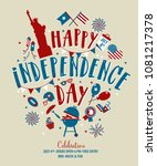 fourth of july  united stated... | Shutterstock .eps vector #1081217378