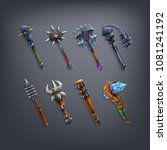 set of fantasy cudgels and mace ...