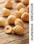 hazelnuts on wooden table | Shutterstock . vector #1081251128
