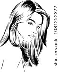 woman with beautiful hairstyles | Shutterstock .eps vector #1081252322