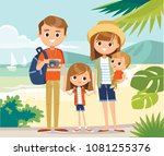happy family on vacation | Shutterstock .eps vector #1081255376