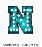 fluorescent blue neon font.... | Shutterstock . vector #1081275542