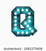 fluorescent blue neon font.... | Shutterstock . vector #1081275608
