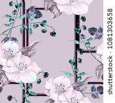 watercolor flowers on... | Shutterstock . vector #1081303658