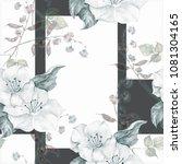 watercolor flowers on... | Shutterstock . vector #1081304165