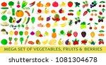 mega set vegetables  fruits and ...   Shutterstock . vector #1081304678