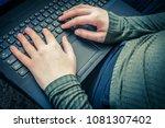 girls hands on laptop keyboard  ...   Shutterstock . vector #1081307402