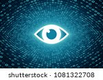 white eye icon inside cyan... | Shutterstock . vector #1081322708