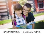 schoolchildren  reading the... | Shutterstock . vector #1081327346