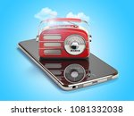 smartphone with red vintage... | Shutterstock . vector #1081332038