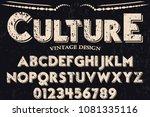 vintage font alphabet...   Shutterstock .eps vector #1081335116