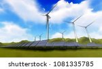 wind turbine on green meadow... | Shutterstock . vector #1081335785