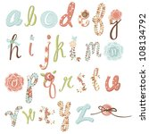 unique vector flower font.... | Shutterstock .eps vector #108134792