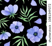 blue flowers  petals and leaves.... | Shutterstock . vector #1081349372