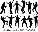 dancing people silhouettes.... | Shutterstock .eps vector #1081365608