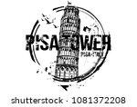 pisa tower. toscana  italy city ... | Shutterstock .eps vector #1081372208