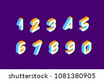 isometric colored numbers  3d.... | Shutterstock .eps vector #1081380905