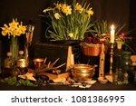black candle magic ritual.... | Shutterstock . vector #1081386995