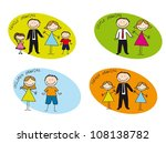 colorful families drawn ove... | Shutterstock .eps vector #108138782
