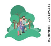 parents couple with son and... | Shutterstock .eps vector #1081391858
