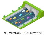 highway road passes through the ... | Shutterstock .eps vector #1081399448