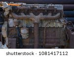 rusted garbage old engine.   Shutterstock . vector #1081417112