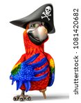 Funny Pirate Red Parrot Cartoo...