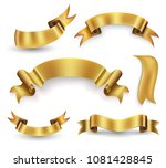 gold ribbon banner set. vector... | Shutterstock .eps vector #1081428845