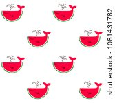 whales of red watermelon slices ... | Shutterstock .eps vector #1081431782