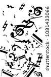 black musical notes on white... | Shutterstock .eps vector #1081433066