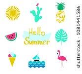 hello summer icon set  hand... | Shutterstock .eps vector #1081441586