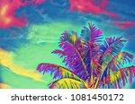 neon coco palm tree on vivid... | Shutterstock . vector #1081450172