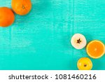 fresh yellow apples and oranges ... | Shutterstock . vector #1081460216
