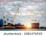 map global logistics...   Shutterstock . vector #1081476935