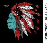 man in the native american... | Shutterstock .eps vector #1081479578