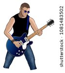 guitar player with blue... | Shutterstock .eps vector #1081483502