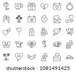 thin line icon set   rose... | Shutterstock .eps vector #1081491425
