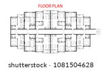 floor plan project one bedroom... | Shutterstock .eps vector #1081504628