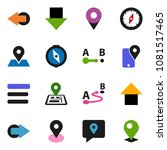 solid vector icon set   compass ...