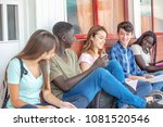 group of mixed races teenagers... | Shutterstock . vector #1081520546