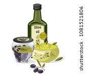 olive oil vector products and... | Shutterstock .eps vector #1081521806